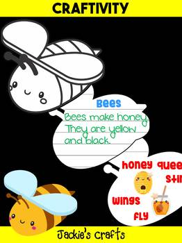 Jackie's Crafts - Bee Craftivity, Bees, insects, Fall, Cut, Color, Write, Draw