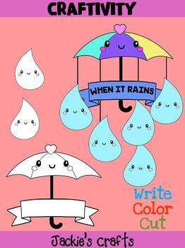 Jackie's Crafts - Umbrella Rain Drops Craftivity, Mobile, Activity, craft