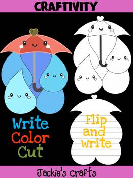 Jackie's Crafts - Umbrella Rain Drops Craftivity, Writing, Activity, craft