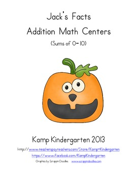 Jack's Facts Halloween Addition Math Centers (Sums of 0-10)