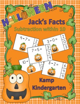 Jack's Facts Halloween Subtraction Math Centers  (Minuends to 10)