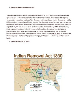 Jackson Indian Removal Trail of Tears Reading with Questions