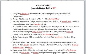 Jackson-Lesson 1 Student Outline & Key Notes/Worksheet/Printable
