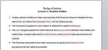 Jackson-Lesson 3 Student Outline & Key Notes/Worksheet/Printable