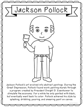 Jackson Pollack, Famous Artist Informational Text Coloring Page Craft or Poster