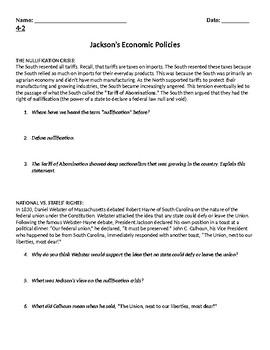 Jackson Tariff of Abominations Nullification Crisis Bank Veto
