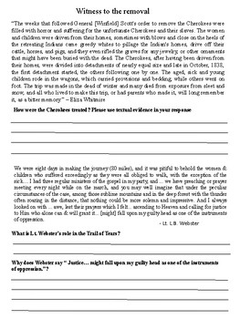 Jackson and the Trail of Tears Primary Source document packet