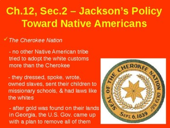 Jackson's Policies Towards Native Americans