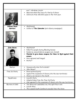 Jackson to Reconstruction Vocabulary Review Sheet with ...