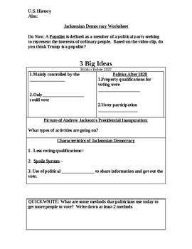 Jacksonian Democracy PowerPoint Worksheet by Kevin O'Brien | TpT