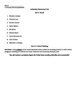 Jacksonian Democracy Review Sheet