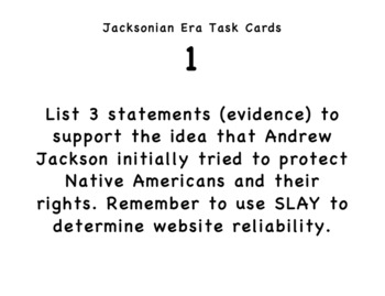 Jacksonian Era Task Cards