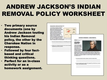 Jackson's Indian Removal Policy worksheet - US History/APUSH
