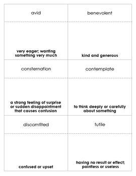 Jacob Have I Loved Vocabulary Bingo