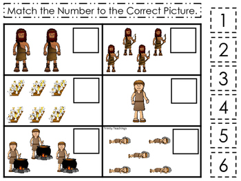 Jacob and Esau Match the Number printable game. Preschool Bible Study Curriculum