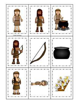 image about Game Pieces Printable referred to as Jacob and Esau Memory Video game printable activity. Preschool Bible Review Curriculum