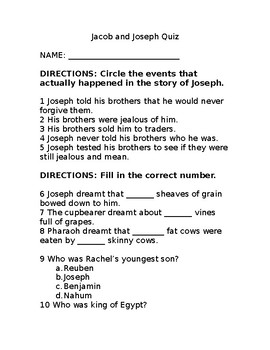 Jacob and Joseph Bible Quiz