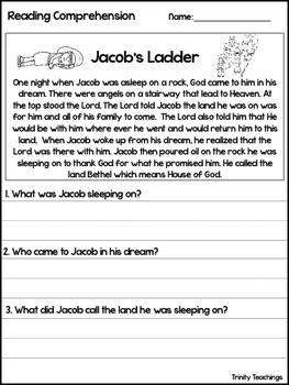 Jacob's Ladder Reading Comprehension Worksheet. Bible Study Curriculum.