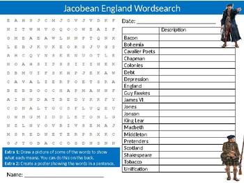 Jacobean England Wordsearch Sheet History Jacobites Starter Activity Keywords