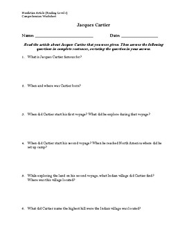 Jacques Cartier Article (Reading Level 2) Comprehension Worksheet