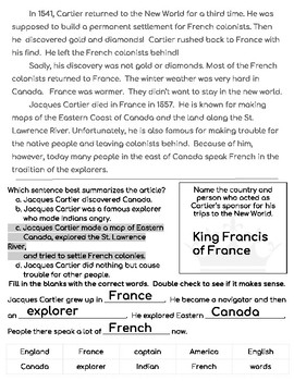 Jacques Cartier Close Reading Passage and Questions