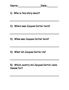 Jacques Cartier Reading Comprehension