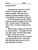 Jacques Cartier Reading Comprehension