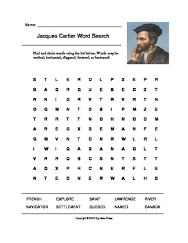 Jacques Cartier Word Search (Grades 2-4)