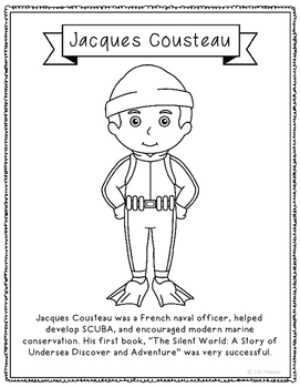 Jacques Cousteau Coloring Page Craft with Biography, Marine Biology