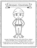 Jacques Cousteau Coloring Page Craft with Biography, Marin