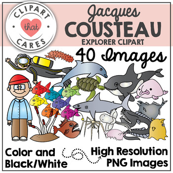 Jacques Cousteau / Sea Creatures Clipart by Clipart That Cares