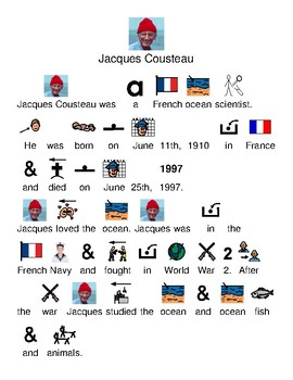 Jacques Cousteau - life picture supported text lesson visuals