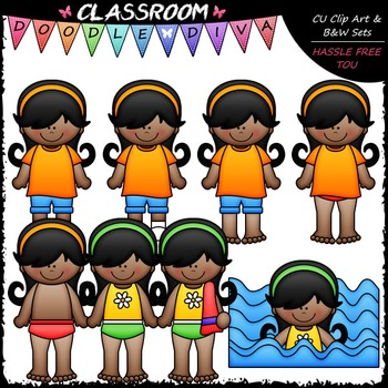 Jada Gets Dressed For Swimming Clip Art - Sequence Clip Art & B&W Set