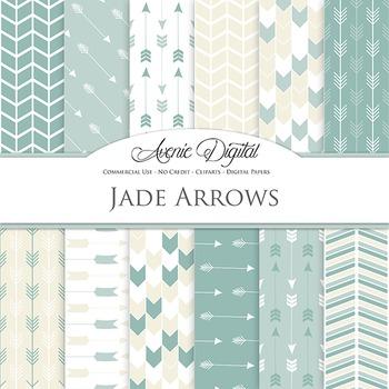 Jade Digital Paper patterns tribal arrows cream green scrapbook background