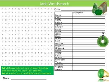 Jade Wordsearch Sheet Starter Activity Keywords Chemistry Precious Stones