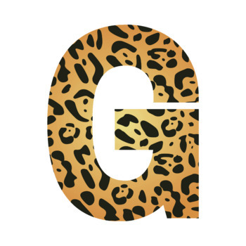 Jaguar Animal Print Letters and Numbers Font Clip Art
