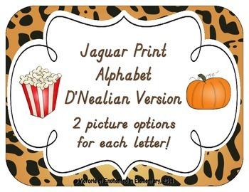 Jaguar Print Alphabet Cards: D'Nealian Version