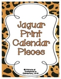 Jaguar Print Calendar Numbers, Months and Days
