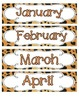 Jaguar Print Calendar Numbers, Months and Days