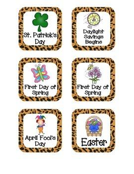 Jaguar Print Holiday Calendar Pieces