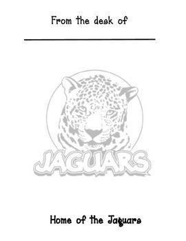 Jaguars Mascot memo sheet