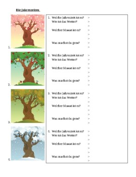 Jahreszeiten (Seasons in German) worksheet