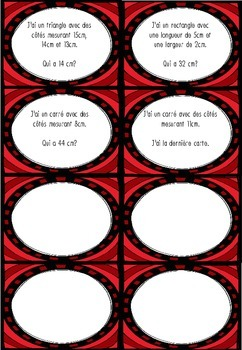 Jeu de math : Le périmètre (inférieur à 50cm)