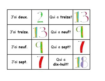 J'ai... Qui a... Les Nombres 0-30 (I have... Who has) French Number Game