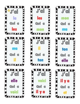 J'ai  Qui a? Mot  Sight Words French I have, Who has?