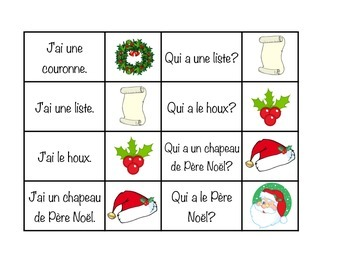 J'ai... Qui a... Noël  (I have... Who has) Game (French) Christmas