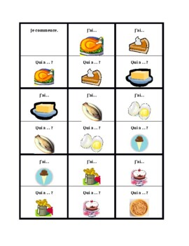 Nourriture (Food in French) J'ai Qui a 1