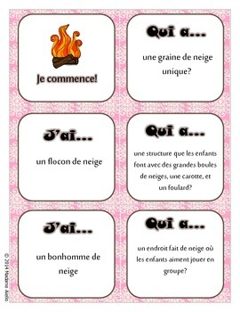 J'ai Qui a (Oral French Chain Activity) Hiver