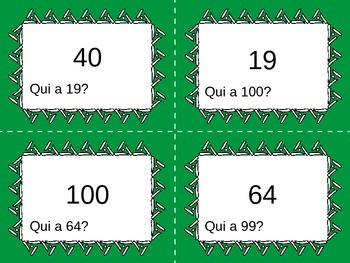 J'ai, Qui a __? French Numbers to 100 Card Game