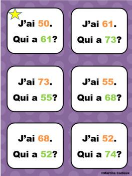 Nombres de 50 à 75 jeu mathématiques J'ai... Qui a?